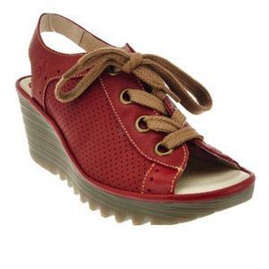Fly London Yuta Leather Perforated Lace-up Wedges